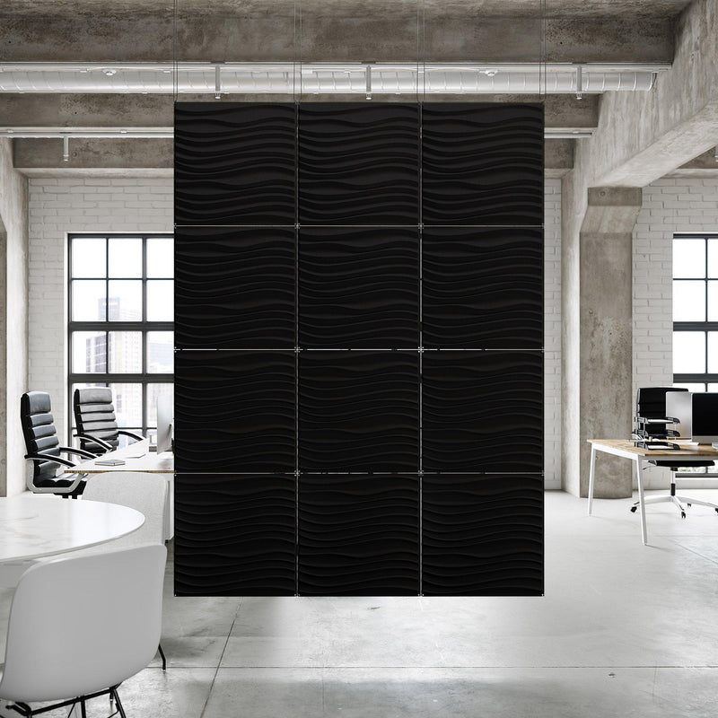 Acoustic Hanging Wall Panel | Room Divider - Current 3D PET Felt Hanging Wall Flat System - 14 - Inhabit