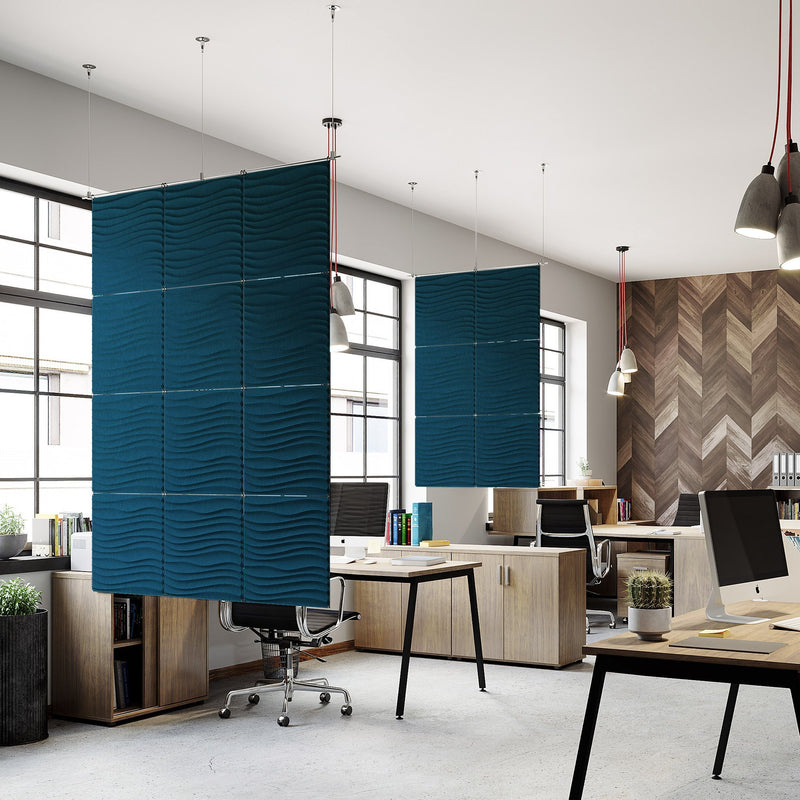 Acoustic Hanging Wall Panel | Room Divider - Current 3D PET Felt Hanging Wall Flat System - 15 - Inhabit
