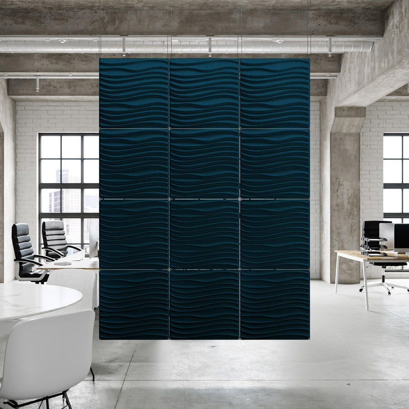 Acoustic Hanging Wall Panel | Room Divider - Current 3D PET Felt Hanging Wall Flat System - 10 - Inhabit