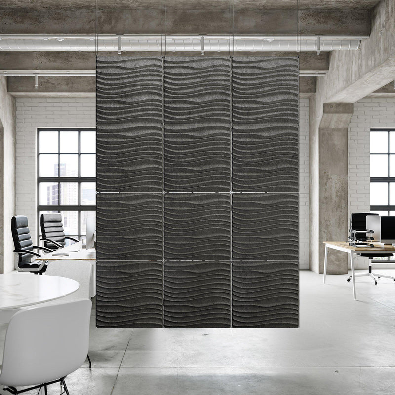 Acoustic Hanging Wall Panel | Room Divider - Current 3D PET Felt Hanging Wall Flat System - 5 - Inhabit