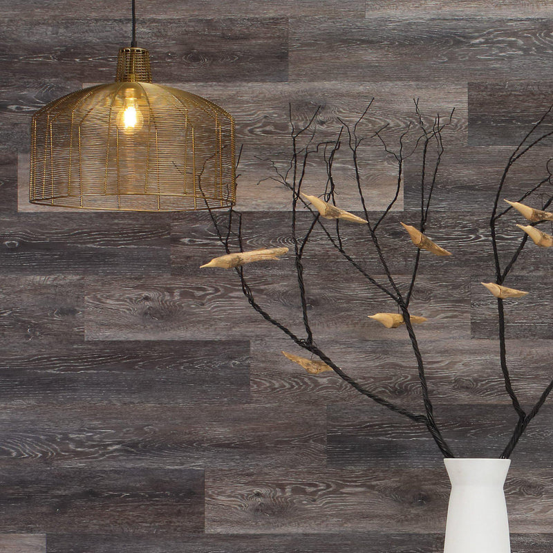 Planks - Dark Weathered Gray Oak Peel and Stick Wall Planks - 6 - Inhabit