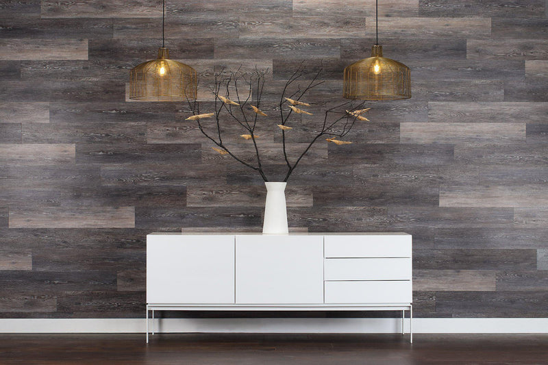 Planks - Dark Weathered Gray Oak Peel and Stick Wall Planks - 11 - Inhabit