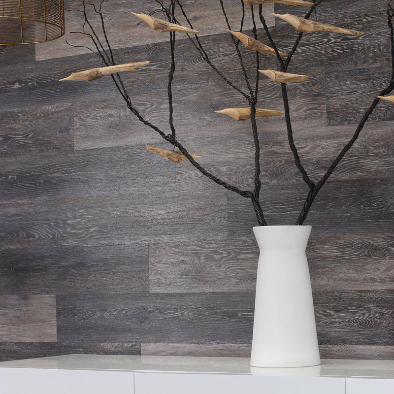 Planks - Dark Weathered Gray Oak Peel and Stick Wall Planks - 8 - Inhabit