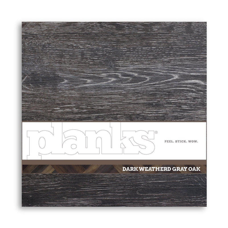 Planks - Dark Weathered Gray Oak Peel and Stick Wall Planks - 12 - Inhabit
