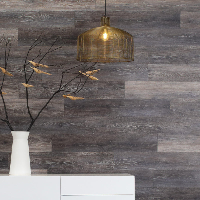 Planks - Dark Weathered Gray Oak Peel and Stick Wall Planks - 4 - Inhabit
