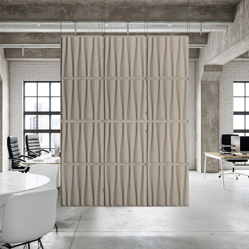Acoustic Hanging Wall Panel | Room Divider - Drift 3D PET Felt Hanging Wall Flat System - 8 - Inhabit