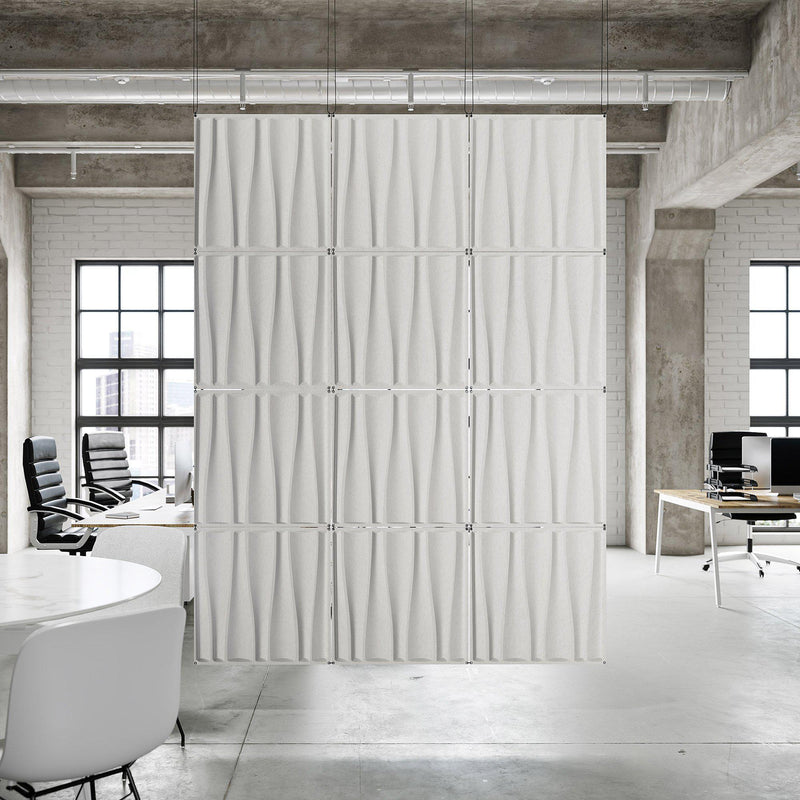 Acoustic Hanging Wall Panel | Room Divider - Drift 3D PET Felt Hanging Wall Flat System - 12 - Inhabit