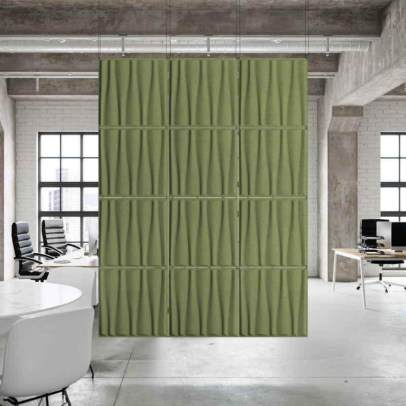Acoustic Hanging Wall Panel | Room Divider - Drift 3D PET Felt Hanging Wall Flat System - 10 - Inhabit