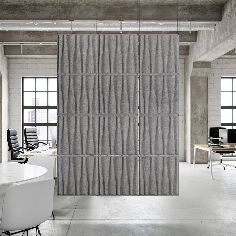 Acoustic Hanging Wall Panel | Room Divider - Drift 3D PET Felt Hanging Wall Flat System - 3 - Inhabit
