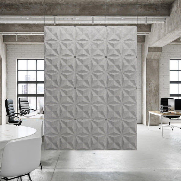 Acoustic Hanging Wall Panel | Room Divider - Facet 3D PET Felt Hanging Wall Flat System - 2 - Inhabit