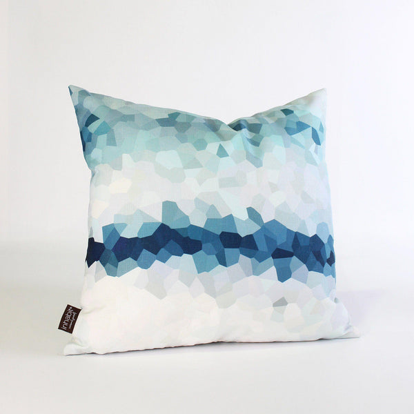 Handmade Pillows - Facet Fade in Aqua Throw Pillow - 1 - Inhabit