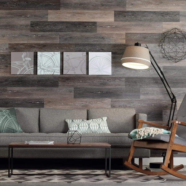 Planks - Gray Washed Oak Peel and Stick Wall Planks - 2 - Inhabit