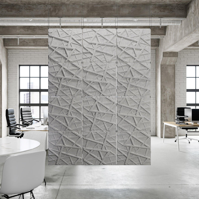 Acoustic Hanging Wall Panel | Room Divider - Hatch 3D PET Felt Hanging Wall Flat System - 1 - Inhabit