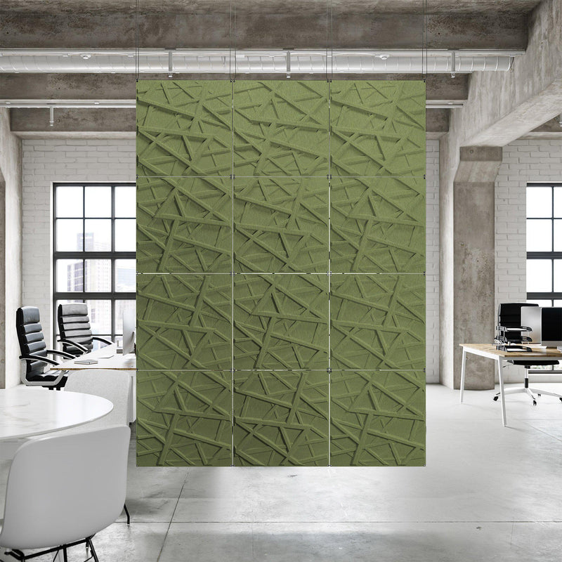 Acoustic Hanging Wall Panel | Room Divider - Hatch 3D PET Felt Hanging Wall Flat System - 10 - Inhabit
