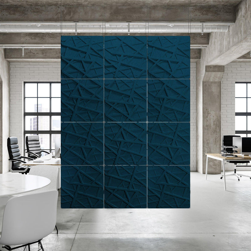 Acoustic Hanging Wall Panel | Room Divider - Hatch 3D PET Felt Hanging Wall Flat System - 9 - Inhabit