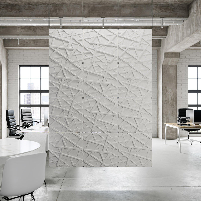 Acoustic Hanging Wall Panel | Room Divider - Hatch 3D PET Felt Hanging Wall Flat System - 12 - Inhabit