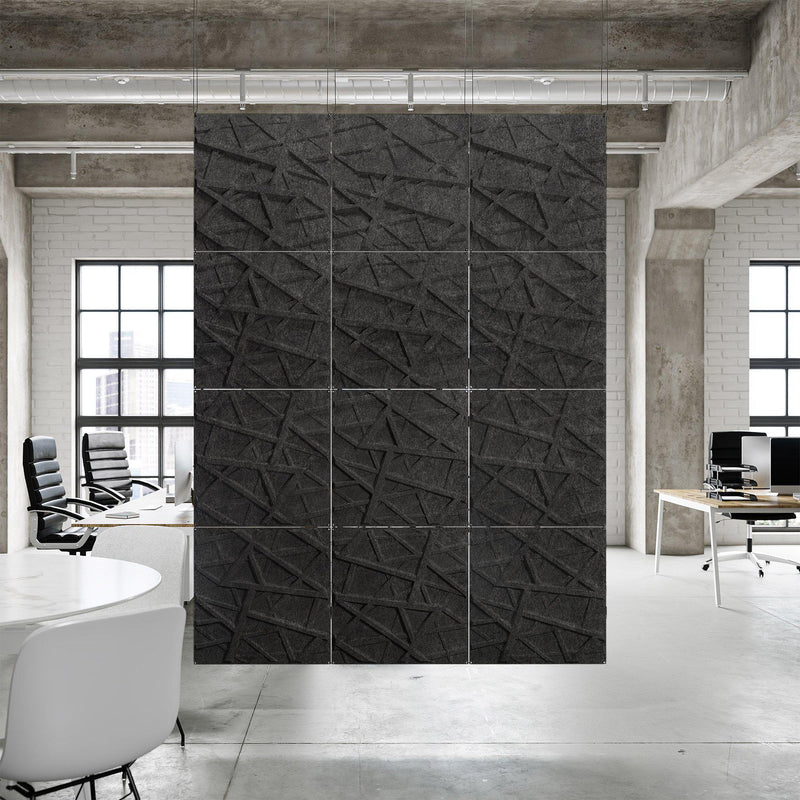 Acoustic Hanging Wall Panel | Room Divider - Hatch 3D PET Felt Hanging Wall Flat System - 5 - Inhabit