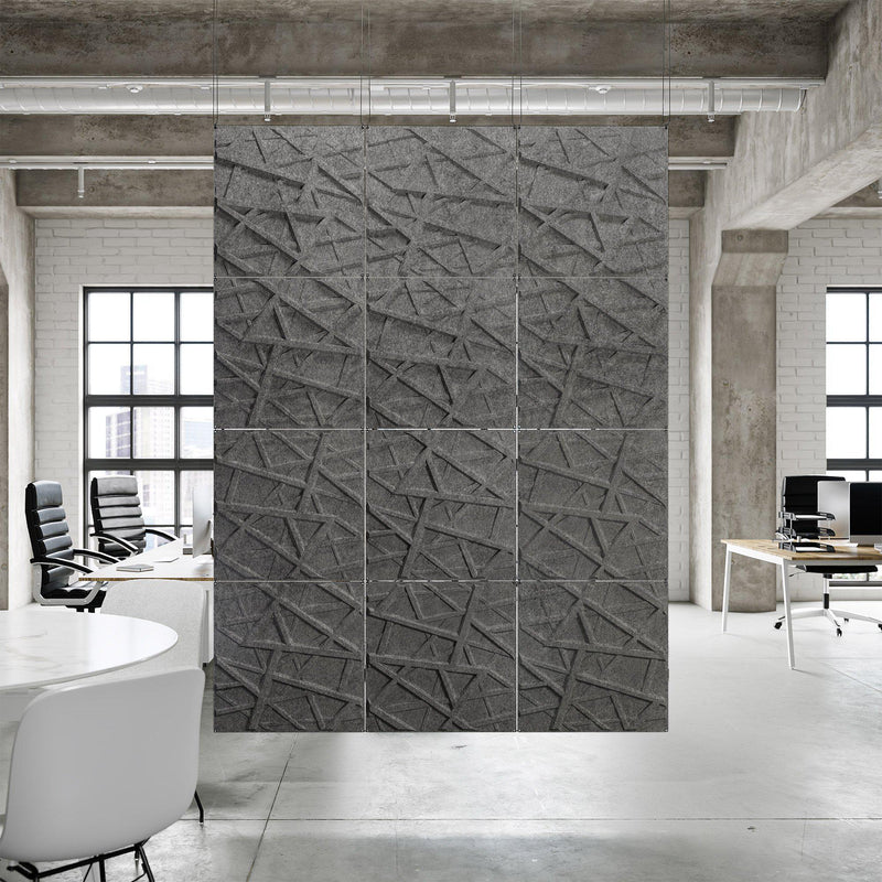 Acoustic Hanging Wall Panel | Room Divider - Hatch 3D PET Felt Hanging Wall Flat System - 4 - Inhabit
