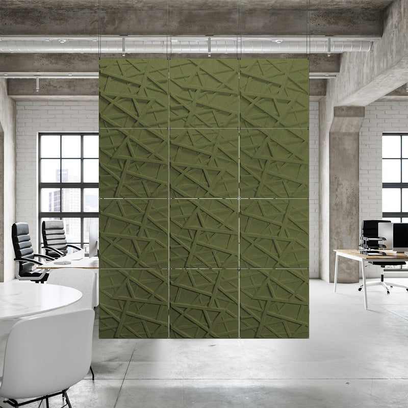 Acoustic Hanging Wall Panel | Room Divider - Hatch 3D PET Felt Hanging Wall Flat System - 6 - Inhabit
