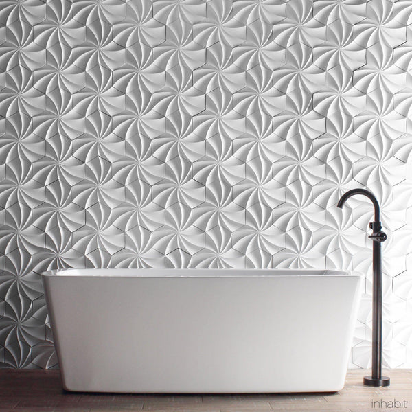 Kaleidoscope Cast Architectural Concrete Tile - Primer White - - Outlet Cast Tiles - Inhabitliving.com - Inhabit - 1