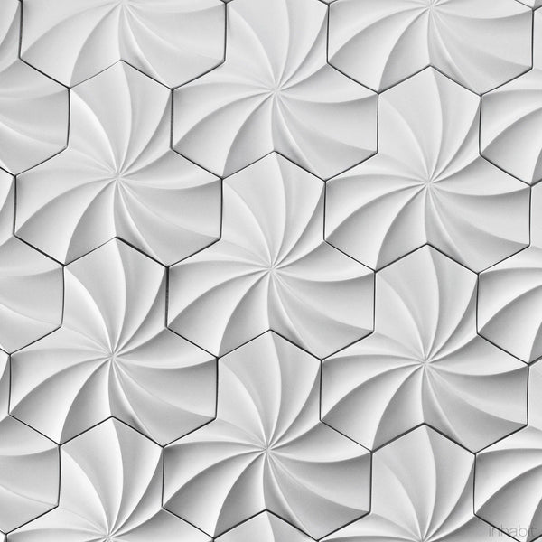 Cast Concrete Tiles - Kaleidoscope Cast Architectural Concrete Tile - White - 2 - Inhabit