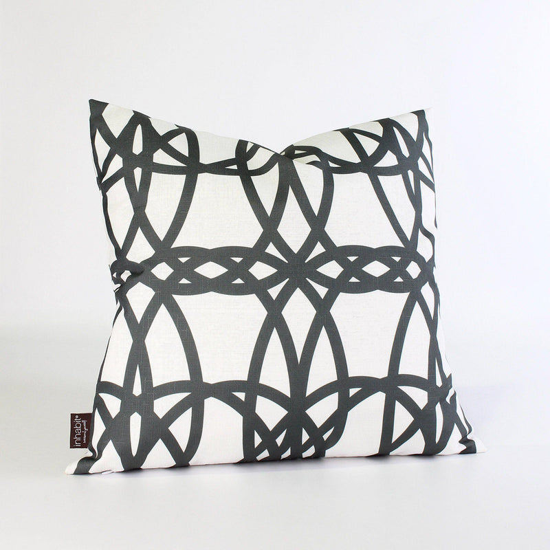 Handmade Pillows - Loom in White & Charcoal Throw Pillow - 1 - Inhabit