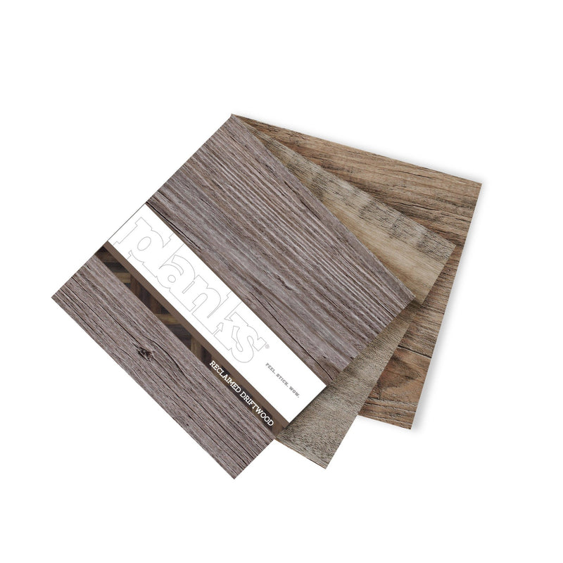 Planks - Reclaimed Driftwood Look Peel and Stick Wall Planks - 9 - Inhabit