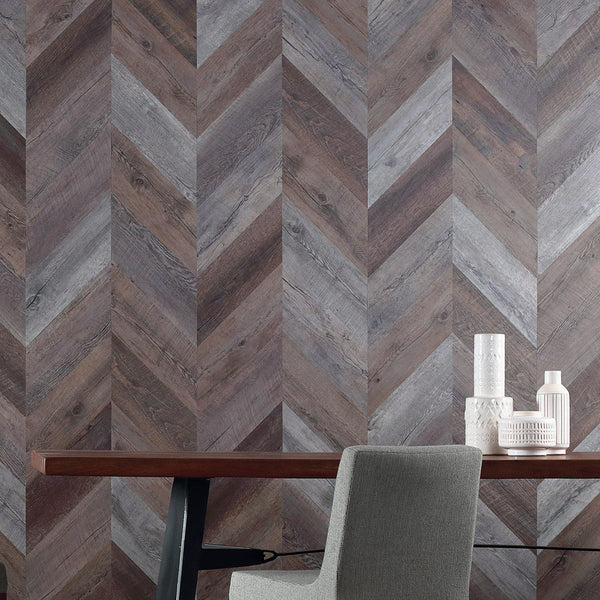 Variplank - Reclaimed Wood Peel + Stick Wood Look Herringbone Variplanks - 2 - Inhabit
