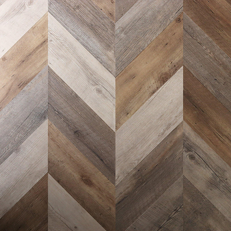 Variplank - Salvaged Pallet Wood Peel + Stick Wood Look Herringbone Variplanks - 1 - Inhabit
