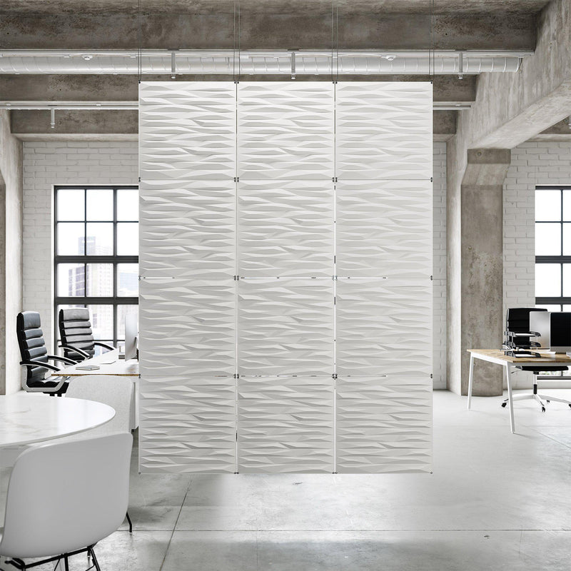 Acoustic Hanging Wall Panel | Room Divider - Split 3D PET Felt Hanging Wall Flat System - 14 - Inhabit