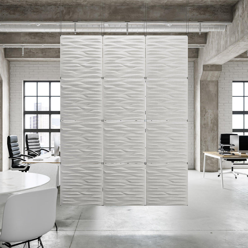 Acoustic Hanging Wall Panel | Room Divider - Split 3D PET Felt Hanging Wall Flat System - 12 - Inhabit