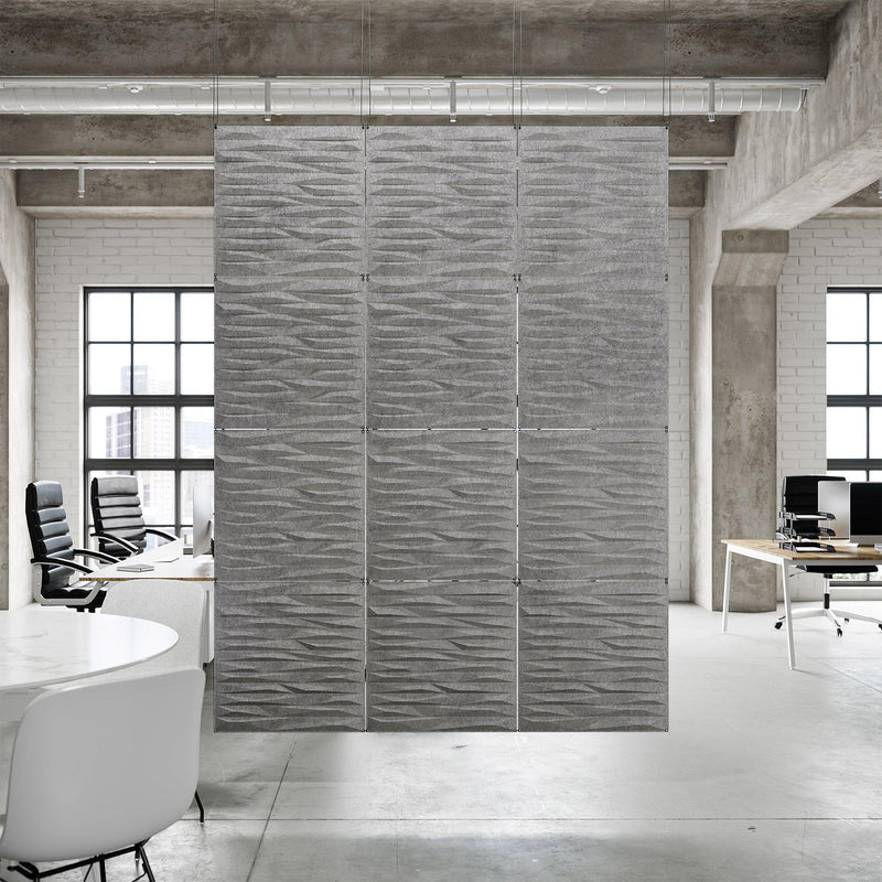 Acoustic Hanging Wall Panel | Room Divider - Split 3D PET Felt Hanging Wall Flat System - 3 - Inhabit