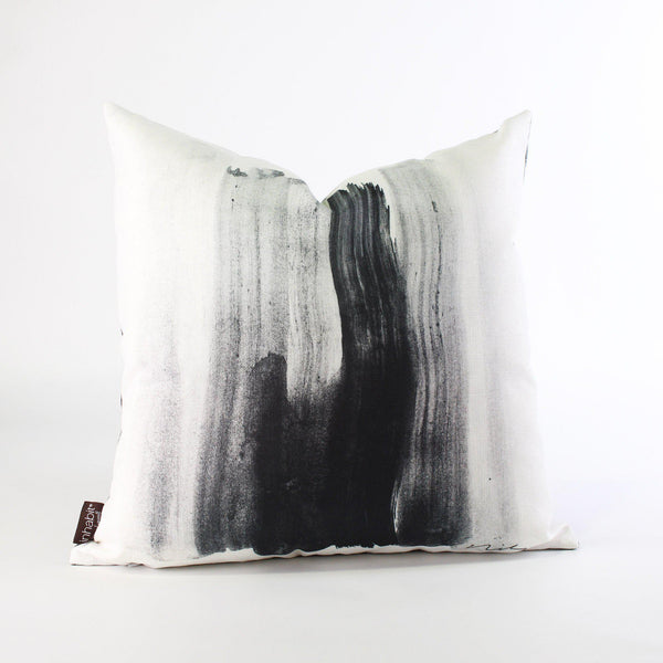 Handmade Pillows - Stroke 1 in Black & White Throw Pillow - 1 - Inhabit