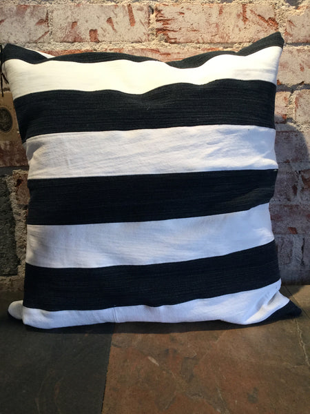 Upcycled Denim Striped Pillowcase (large)