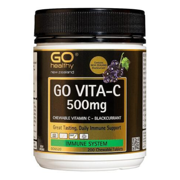 GO Vita-C 500mg Blackcurrant 200 Chew