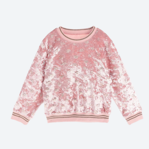 Crown Pattern Velvet Sweatshirt