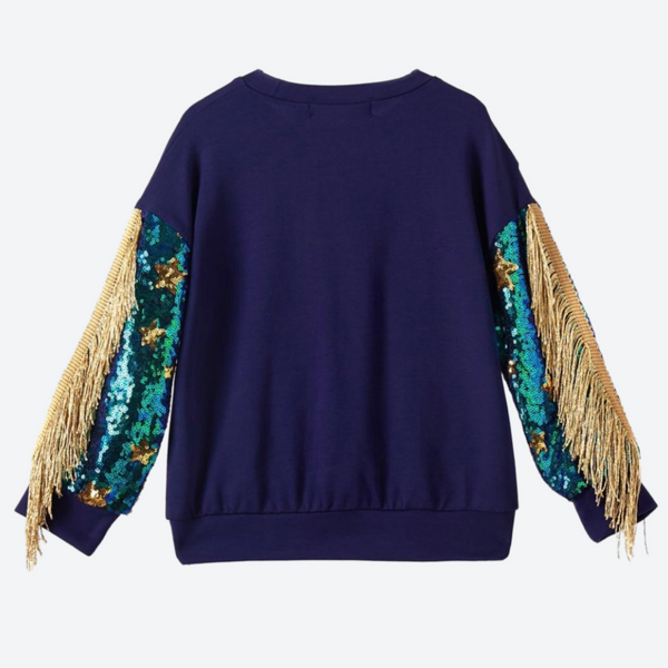 Unicorn Sweatshirt with Sequin and Fringe Sleeves