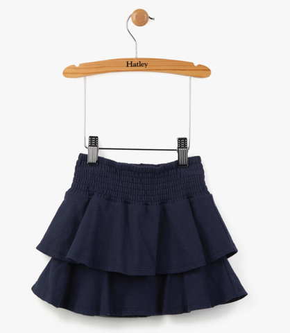 Hatley Smocked Navy Ruffly Skirt