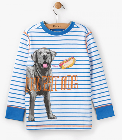 Hatley Dog Eats Hotdog Long Sleeve Tee