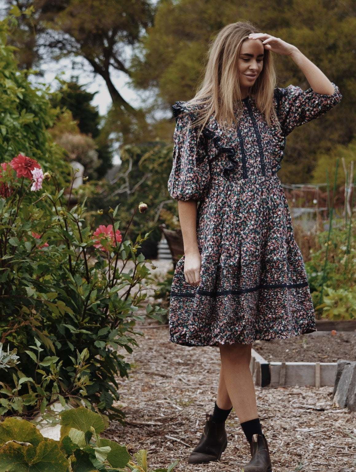 SMALL RESTOCK - CLEMENTINE DRESS PINWALE CORD NAVY DITSY FLORAL