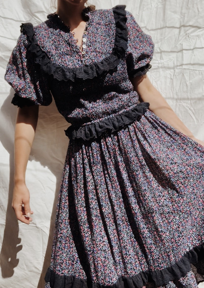 ESLEY DRESS DITSY FLORAL NAVY