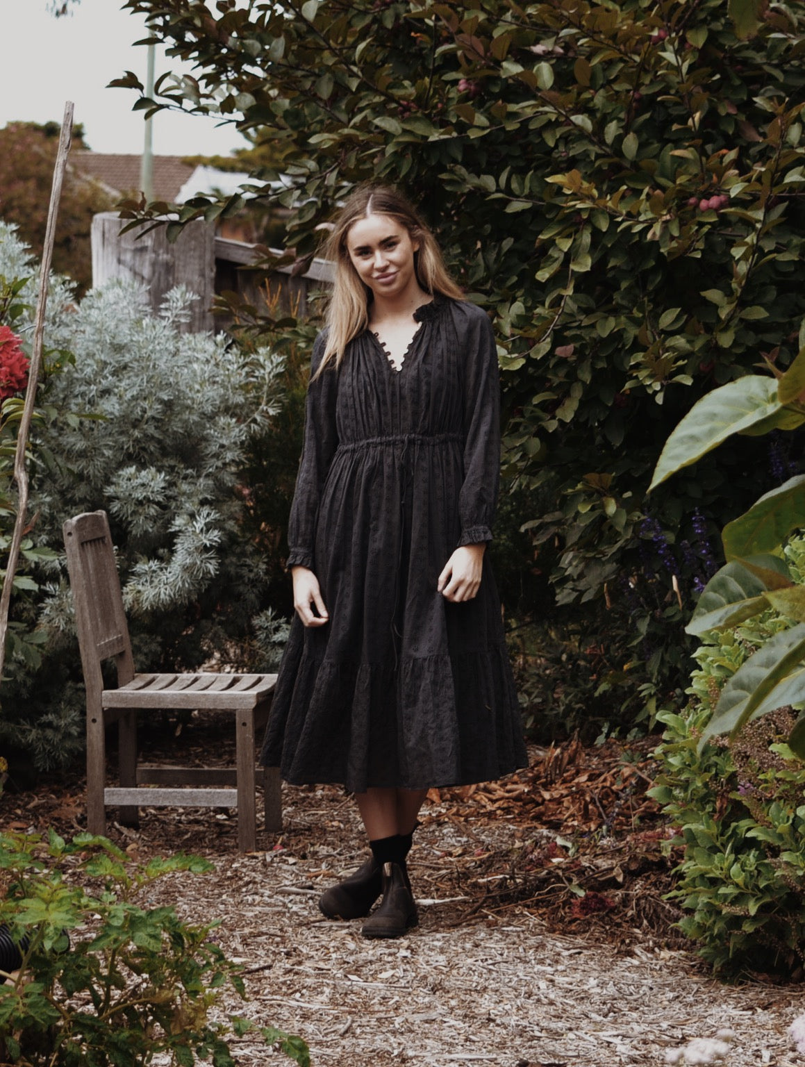 PRAIRIE DRESS WASHED BLACK LACE COTTON