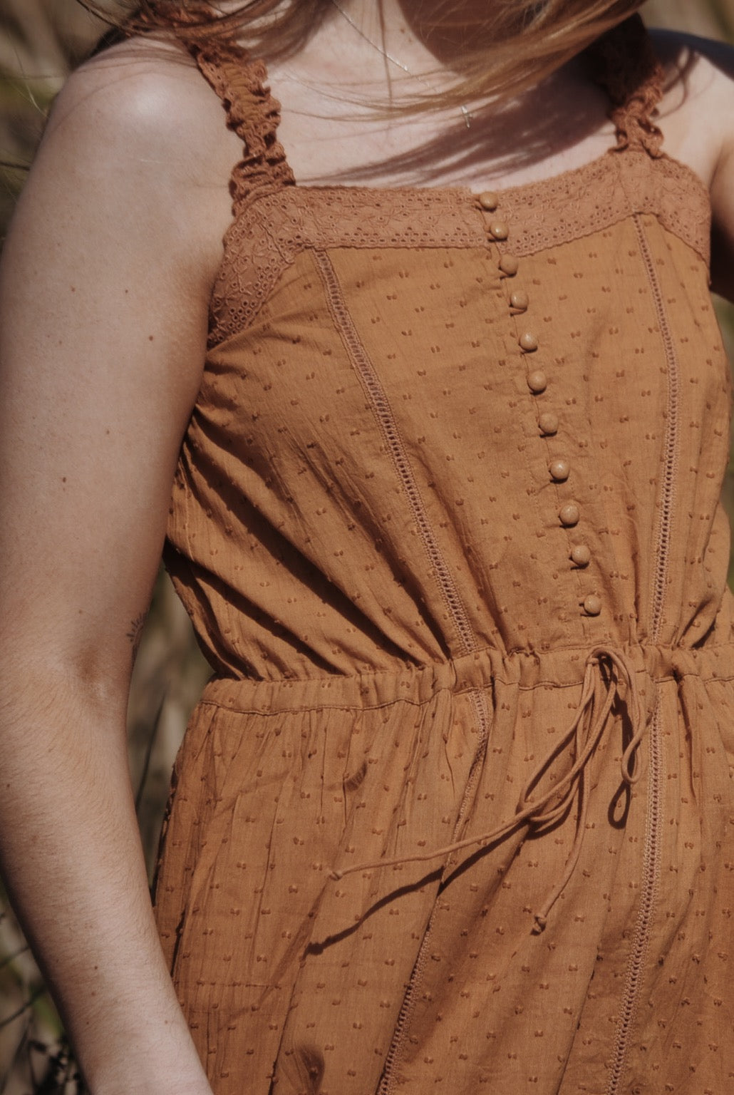 ADELINE COPPER COTTON LACE DRESS