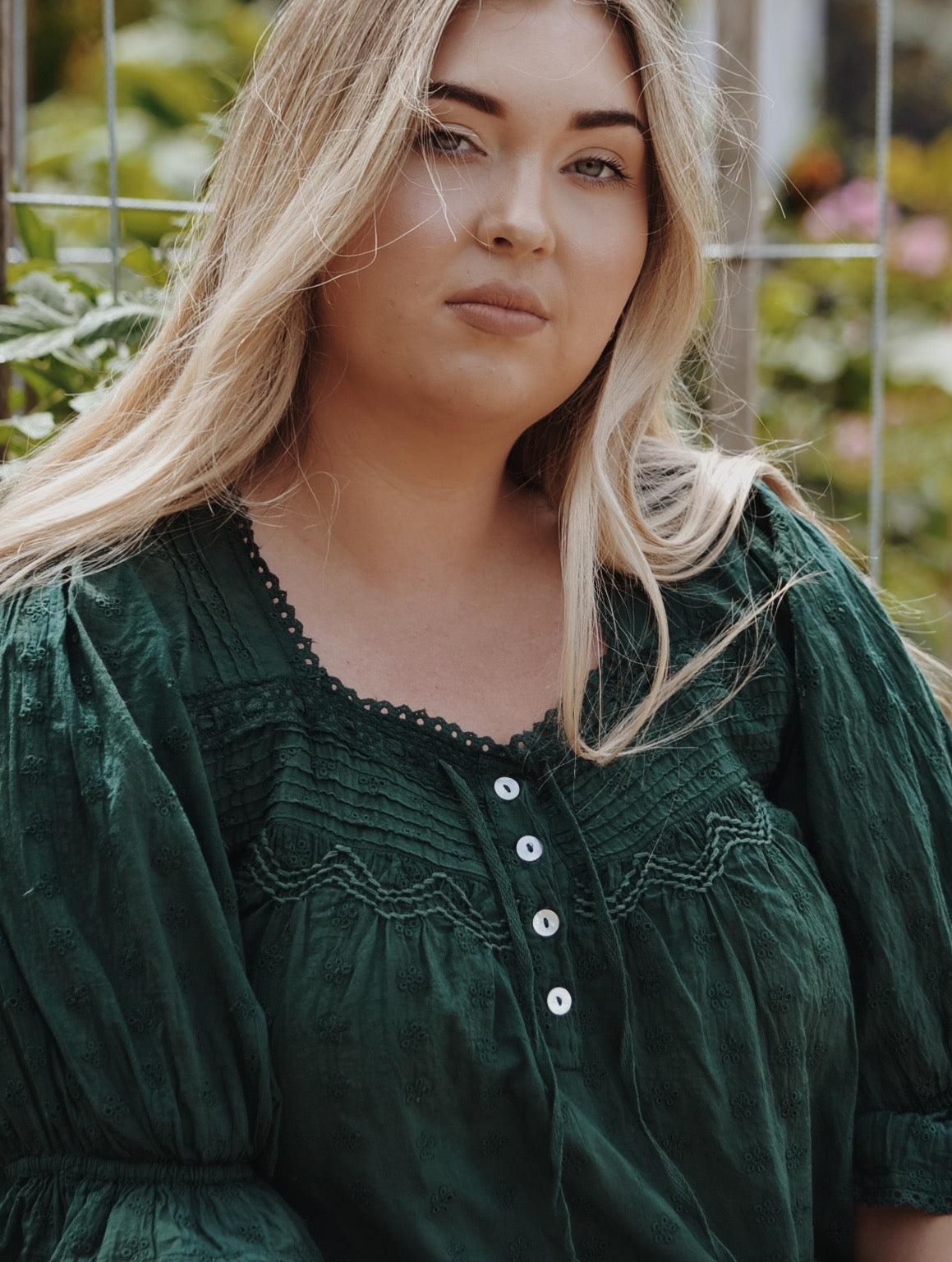 MORNING SONG HAND SMOCKED BLOUSE FOREST GREEN