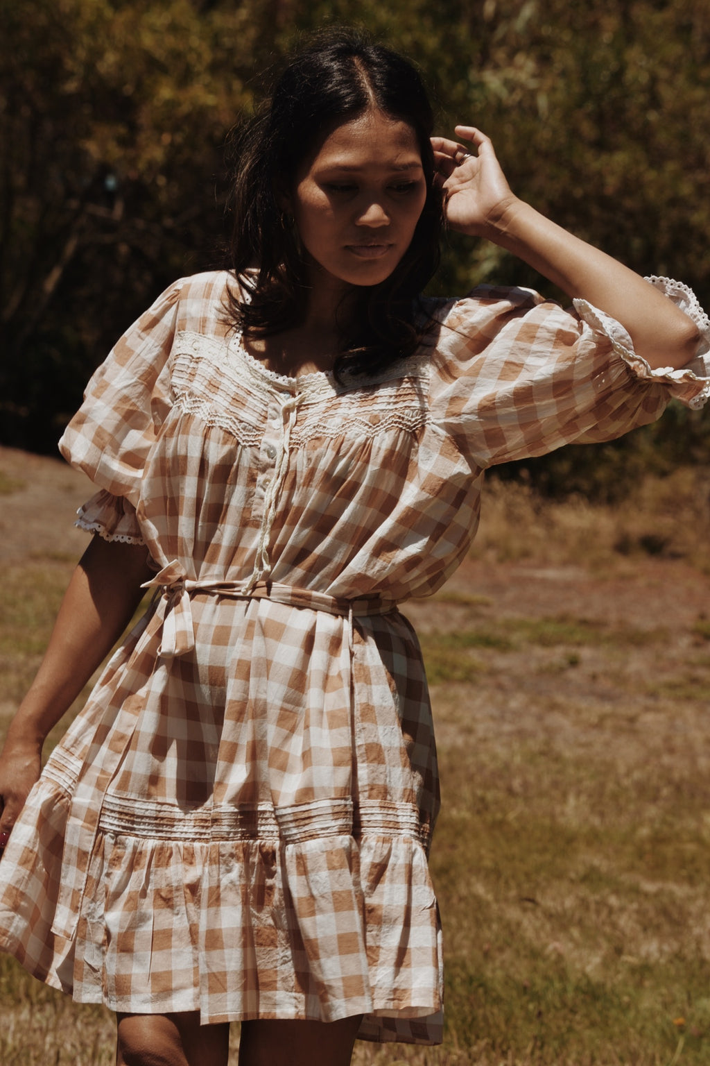 MORNING SONG HAND SMOCKED DRESS CAMEL GINGHAM