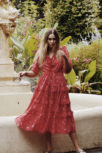 THEA RED COSMOS FLORAL DRESS