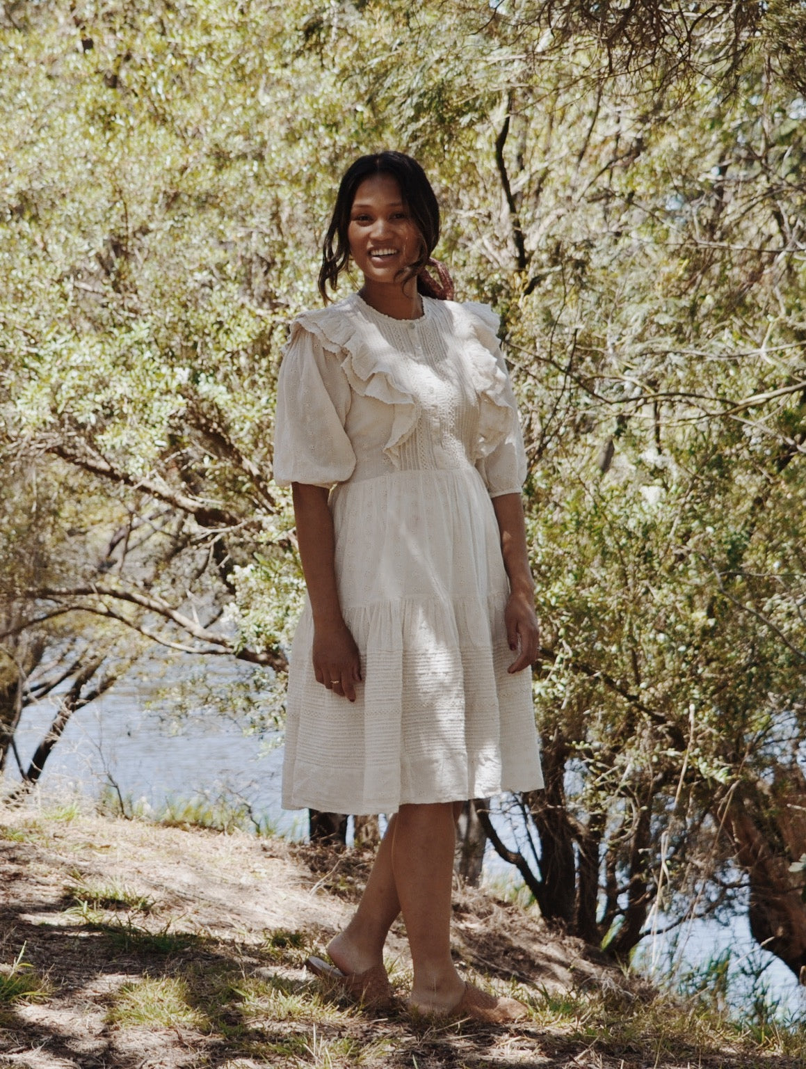 CLEMENTINE BUTTON DOWN DRESS ANTIQUE WHITE