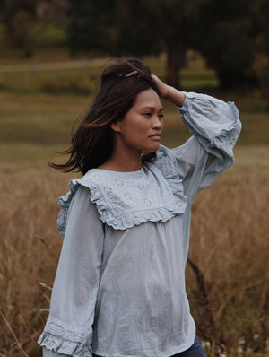 BEATRIX BLOUSE OPAL BLUE COTTON GAUZE