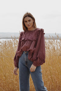 BEATRIX BLOUSE MULBERRY COTTON GAUZE