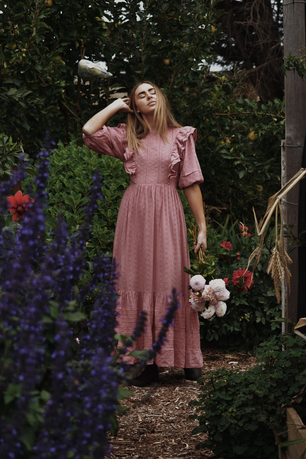 BRAMWELL DRESS DUSTY PINK COTTON LACE